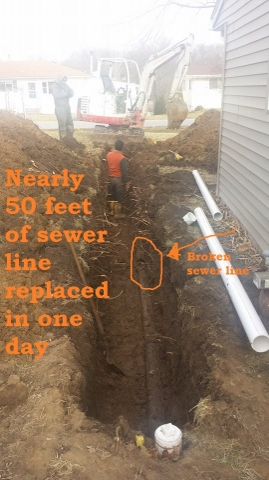 Broken sewer line shown from a larger viewpoint